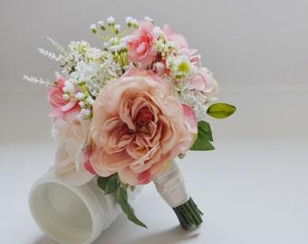 Blush and Ivory Bridesmaid Bouquet, Bridesmaid Bouquet, Rustic Wedding Flowers, Rustic Wedding, Flower Girl Bouquet, Garden Bouquet, Pink