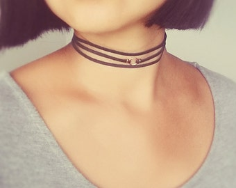 Leather Wrap Choker, Leather Gold Filled Choker