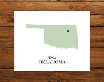Oklahoma State Love Map Silhouette 8x10 Print - Customized