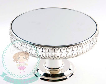 FAST Shipping!! Crystal Cake Stand, Wedding Cake Stand, Crystal Treat Stand, Silver Cake Stand, Silver Treat Stand, Wedding Crystal Cake