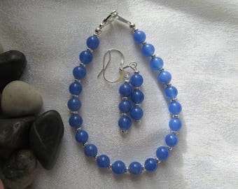 Blue Chalcedony Bracelet and Ear Rings