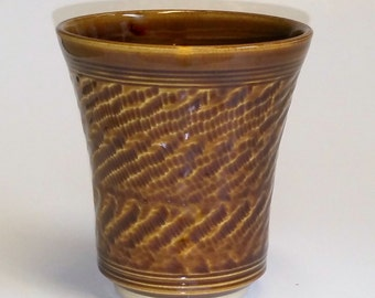 Amber Pottery Tumbler 13 ounce capacity Wheel Thrown and Chattered