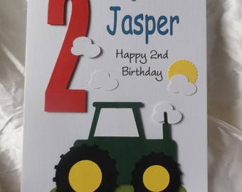 Personalised 1st, 2nd Any Age Tractor Birthday Card Son, Grandson, Godson, Nephew etc.