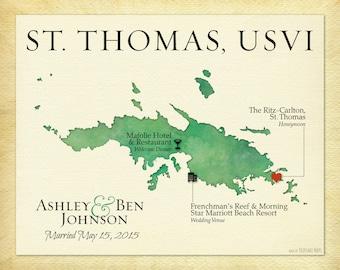 st thomas usvi map print map of st thomas paper anniversary gift