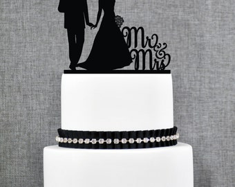 Mr and Mrs Silhouette Couple Wedding Cake Topper, Classic Wedding Cake Topper, Elegant Custom Wedding Cake Topper- (T231)