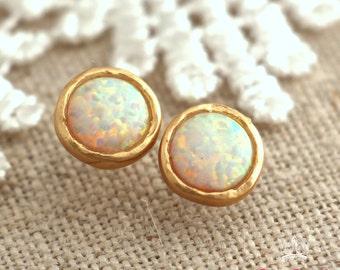 White Opal Earrings, Opal stud earrings, White Opal earrings, Gold Opal earrings,Gift for woman, October birthstone, Dainty Opal earrings.