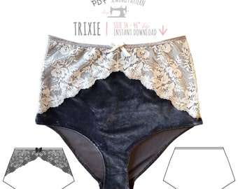 DIGITAL Lingerie Sewing Pattern - Trixie High Waisted Knickers/Panties - pdf instant download E2009 - from EVIE la LUVE