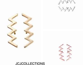 Saw Blade Earrings, Gold Earrings, Rose Gold Earrings, Silver Earrings, Chic, Simple