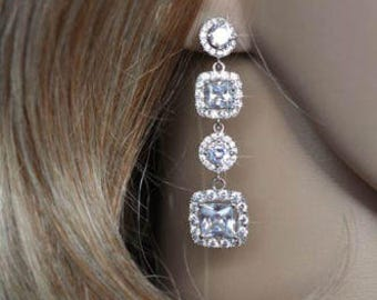 Gorgeous Luxe Cubic Zirconia CZ Multi-Drop Halo Dangle Bridal Earrings, Bridal, Wedding (Sparkle-1829)