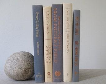 Gray and Cream Decorative Book Set, Book Bundle, Book Stack, Wedding Centerpiece, Gray Decor, Shelf Decor, Book Decoration, Books by Color
