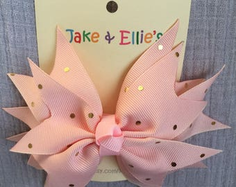 Pink and Gold Polka Dot Spiked Hair Bow
