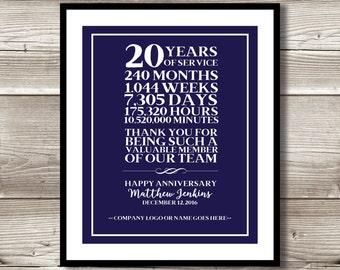 25 Year Work Anniversary Retirement Print Gift Digital