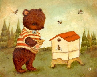 Children's Art - Little Bear Beekeeper Print 5x5 / 7x7 - Nursery, Red, Cream, Baby, Cute, Kids Art, Striped, Bees, Brown, Beehive, Honey