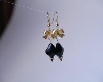 Swarovski black Jet baroque pendant earrings