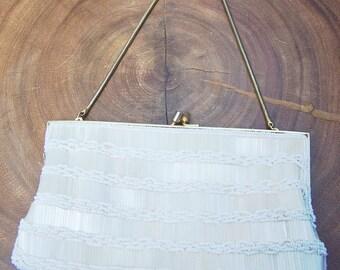 Vintage White Beaded Mini Bag Signed LaRegale Ltd