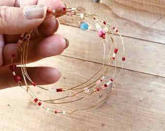 Handmade Recycled Gold Wire Beaded Small Garland or Wreath