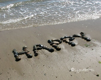 Beach Theme HAPPY Photo 5x7 with Mat- upbeat word art, beach stones, 5x7 beach word photo, coastal decor, inspirational art, graduate gift