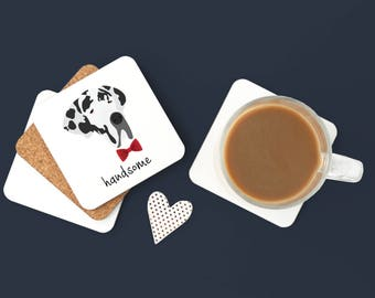 Personalized Great Dane Coasters, Great Dane Gifts, Custom Great Dane Gifts, Great Dane Coasters, Great Dane with Bow Tie Coaster (Set of 2)