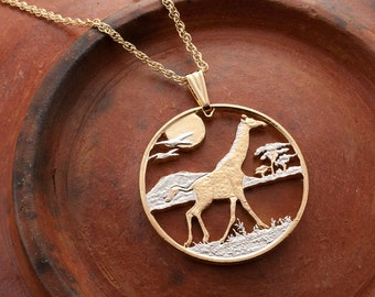 "Giraffe Pendant and Necklace, Sierra Leone Giraffe Coin Hand Coin, 14 Karat Gold and Rhodium Plated,1 1/4"" in Diameter, ( # 920 )"