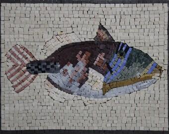 "FISH Tank 21""x16"" TOP Sold Wall Art Marble Mosaic AN1184"