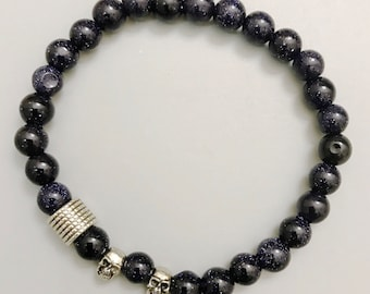 Bracelet | Yoga Beaded Charm Mala ॐ DRIVE: Blue Goldstone | Skull | Energy Healing Karma Love | OOAK Luxury Jewelry | Men Women