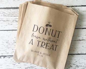Wedding Favor Bag, Personalized Donut Favor Bag , Donut Favor Bag, Wedding Favor Bag, Personalized Donut Favor Bag,  Set of 10, 25, 50