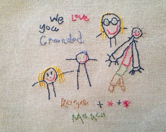Hand sewn childs drawing