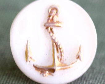 White Button with Gold Anchor