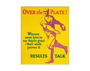 Over The Plate 1929 WPA Motivational Results Talk Vintage Poster Retro Art Print Free US Post Low EU & Canada Post