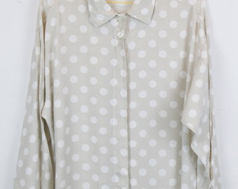 Vintage shirt, 90s clothing, shirt 90s, dot pattern, long sleeves, oversized