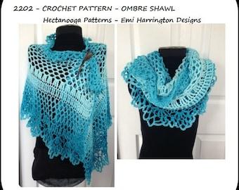 CROCHET PATTERN, SHAWL, make sizes small, medium and large,make any size, pdf num. 2202, Ombre Shawl, Easy pattern, crochet shawl pattern