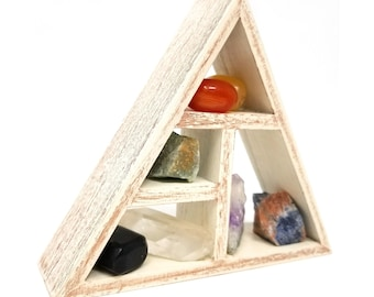 CHAKRA Healing Crystals and Stones Set /  Seven Healing Stones and Grid Set holder kit in Gift Box /Root Third eye Energy Balancing Reiki 32