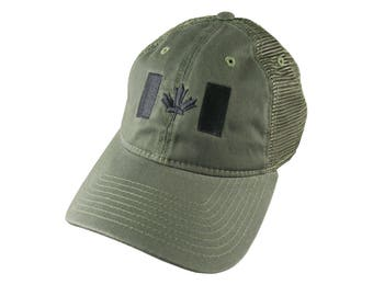 Canadian Flag Black Embroidery on a Khaki Olive Military Green Unstructured Adjustable Classic Trucker Style Cap with Matching Back Mesh