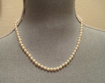 Vintage Faux Pearl Necklace OR Pearl/Rhinestone Drop Necklace