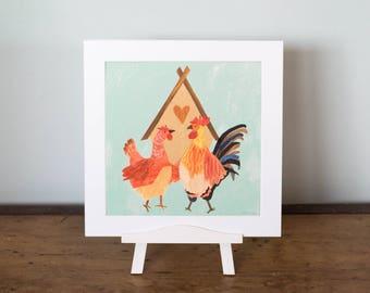 """10x10"""" Chicken Love Print"""