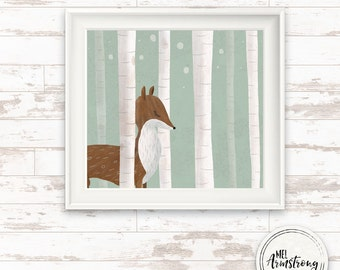 square, nursery art print, dear woodland winter art print, Giclee Art Print, archival art print, dear print, woodland art print