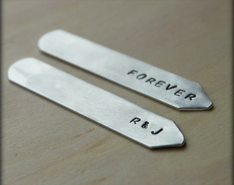 SALE Hand Stamped Collar Stays. Silver Aluminum. Personalized - Groomsman. Fathers Gift