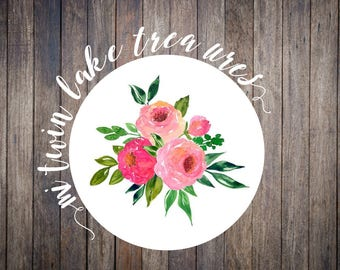 Pink Floral Watercolor Stickers / Envelope & Lettering Seals / Personalized Adhesive Labels / Guest Invitation, Wedding Decor, Baby Shower