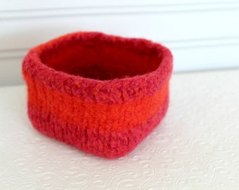 Mini Wool Basket Tangerine and Pink, Knit Felt Storage Basket, Boiled Wool Small Storage Basket, Orange Wool Storage Container, Square Bowl