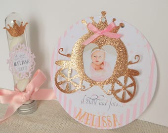 Birth announcement girl princess pink and white with glittery carriage