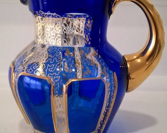 Vintage Murano Glass Decanter With Gold Design