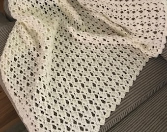 Crochet Off White Baby Afghan