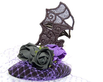 Gothic Fascinator with embossing stickers bat - head piece
