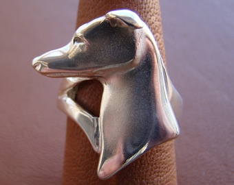 Sterling Silver Greyhound Head Study Ring