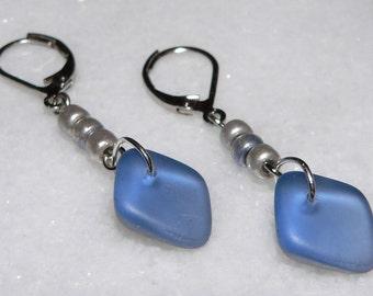 Blue Silver Earrings, Glass Earrings, Dangle & Drop Earrings, Teen Gift, Simple Earrings