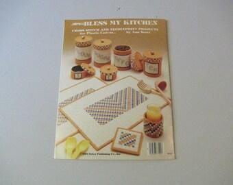 Bless My Kitchen, Cross Stitch and Needlepoint on Canvas By Ann Scott, Vintage 1984