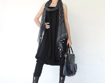 NO.125 Black Cotton Jersey Strapless Loose Jumpsuit