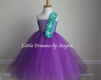 Purple and teal flower girl tutu dress - purple and teal dress - size nb to 9years