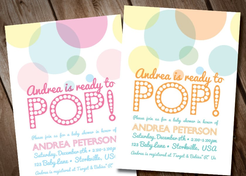 About to POP Baby Shower Invitation Digital Invitation Ready