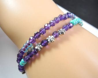 Purple and Turquoise Beaded Amethyst Double Strand Bracelet with Sterling Dragonfly and Ohm Charm